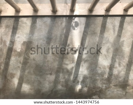 baluster bar and small tree leaves' shadows shine on gray cement in natural daylight, using for background #1443974756