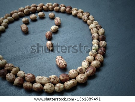 Bambara groundnut in circle shape with question mark