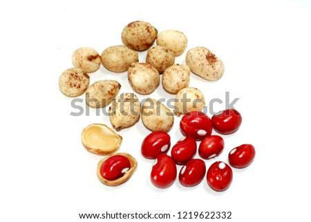 Bambara Groundnut on white background
