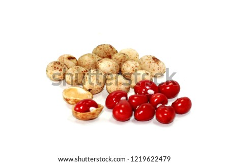 Bambara Groundnut on white background