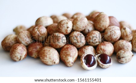 Bambara groundnut or Vigna subterranea (Kacang Bogor) on white background.