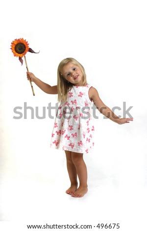 bambino con il girasole - stock photo