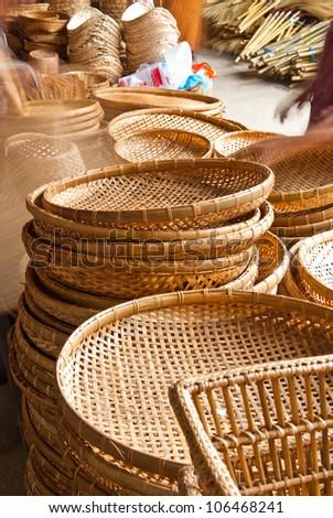 Bamboo basket in market