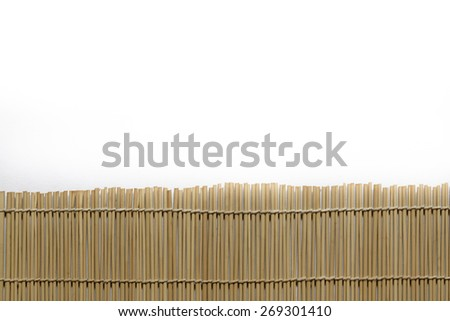 Bamboo brown straw mat on white paper as abstract texture background