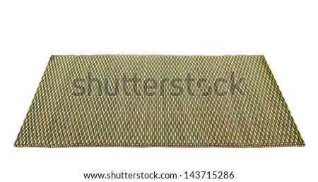 Bamboo brown straw with a green thread ornament serving mat isolated over white background