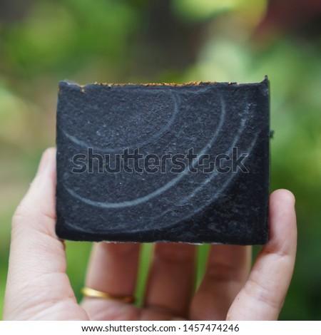 bamboo charcoal soap. Handmade soap.