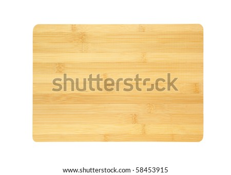 Bamboo chopping board isolated on white background