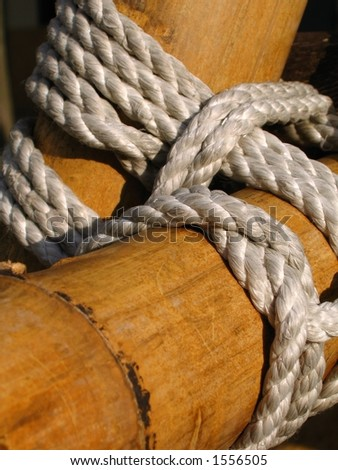 Bamboo Construction -- detailed view of rope alignment