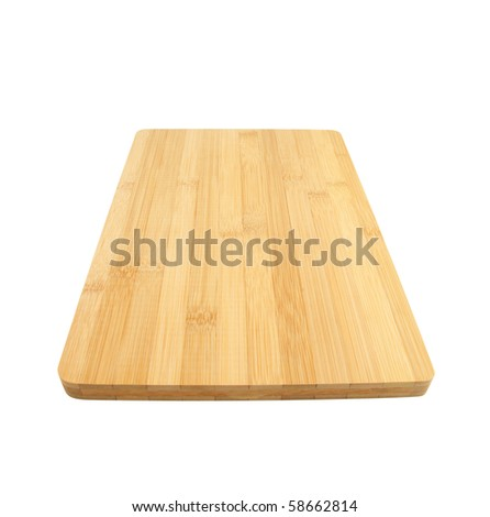 Bamboo cutting board isolated on white