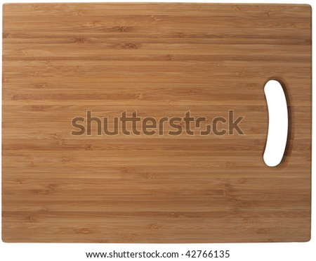 Bamboo cutting board. Isolated on white, with clipping path.