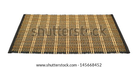 Bamboo dark straw serving mat isolated over white background