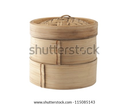 Bamboo Dim sum container for steaming asian food, Japanese Chinese Vietnamese and Thai