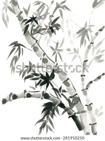 Bamboo  drawn in traditional east style India ink