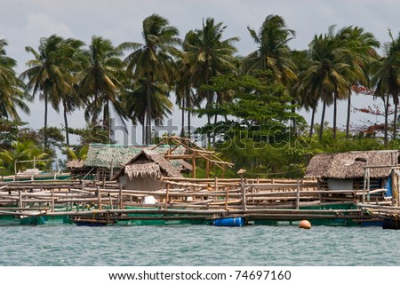 Bamboo fishing huts floating over mangrove swamp in Philippines