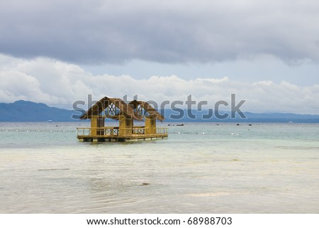 Bamboo floating house / restaurant in Bohol, Philippines - stock photo