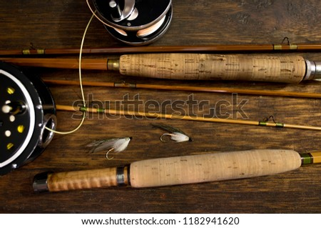 Bamboo Fly Rods, Fly Reels, Two Fishing Flies