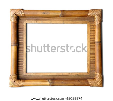 bamboo frame handicraft - stock photo