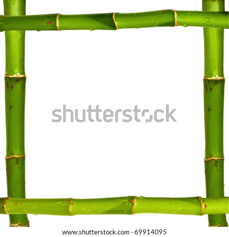 Bamboo frame made of stems isolated on white background - stock photo