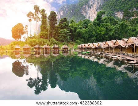 bamboo house Resort in Ratchaprapha Dam at Khao Sok National Park, Surat Thani Province, Thailand.