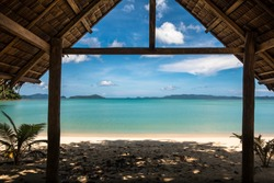 Bamboo Hut Tropical View, with Beach & Turquoise Sea - Port Barton, Palawan - Philippines