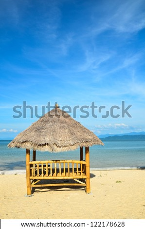 bamboo hut under the blue sky