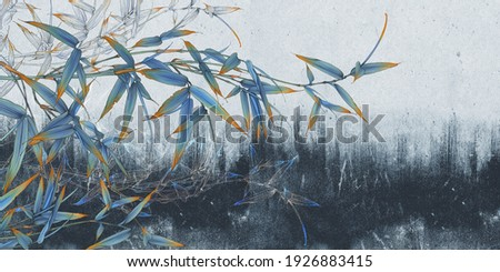 Bamboo illustration on blue concrete grunge wall. Floral background. Design for photo wallpaper, wallpaper, mural, card, postcard.