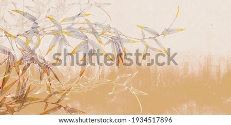 Bamboo illustration on yellow concrete grunge wall. Floral background. Design for photo wallpaper, wallpaper, mural, card, postcard.