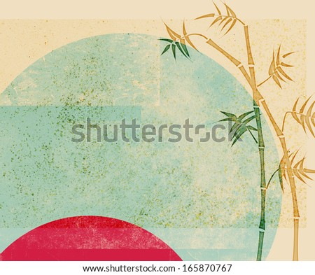 Bamboo ink drawing on abstract vintage background