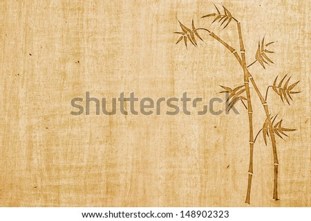 Bamboo ink drawing on bamboo paper background with copy space