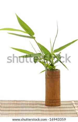 Bamboo leafs in wood Vase on mat