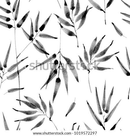 Bamboo leaves, jungle pattern. Seamless detailed botanical pattern. Monochrome minimalist repeatable background. Ink brush hand painted.