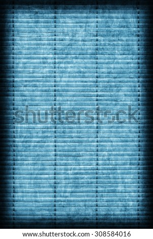 Bamboo Mat Handiwork, Bleached and Stained Powder Blue, Vignette Grunge Texture Sample.