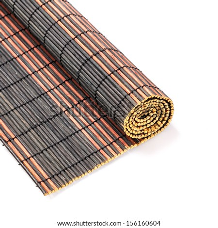Bamboo mat roll on isolated white background