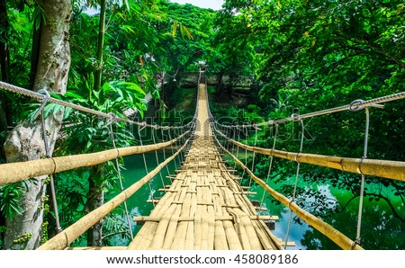 stock photo bamboo pedestrian hanging bridge over river in tropical forest bohol philippines southeast asia 458089186 - Каталог — Фотообои «Мосты»