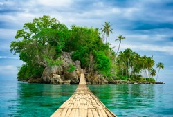 Bamboo pedestrian hanging bridge over sea to remote desert island. Beautiful tropical landscape. Travel lifestyle. Wild nature vacations. Adventure ecotourism concept. Way to Paradise. Exotic scenery