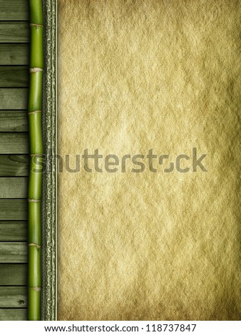 Bamboo, planks and handmade paper background