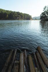 Bamboo raft on the lake at Pang Oung, Thai National park, Mae Hong Son, Thailand