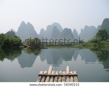 Bamboo raft on the Li river in Yangshuo, China