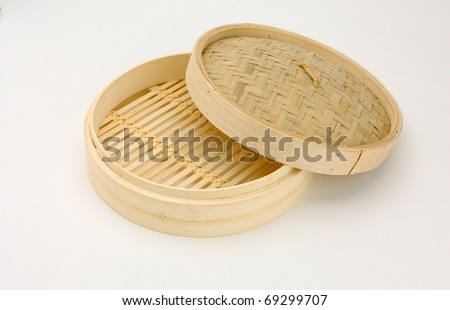 Bamboo round shape basket for steaming  Chinese or Japanese food, the image isolated