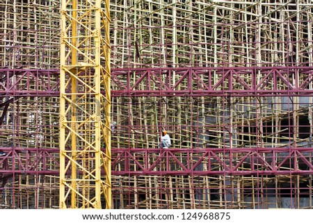 bamboo scaffolding in construction site - stock photo