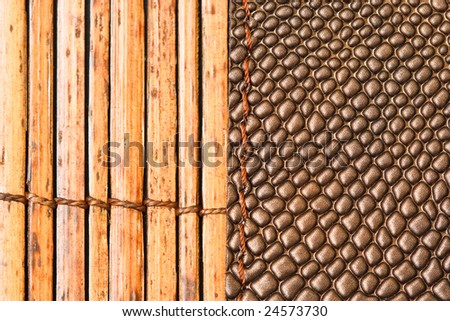 Bamboo stick straw mat and snake skin