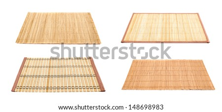 Bamboo straw serving mat isolated over white background, set of four variations