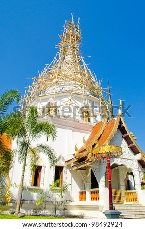 Bamboo Structure for Repair pagoda in the ancient temple (WatPadarapirom) Maerim District, Chiangmai province, Thailand.