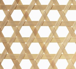 Bamboo texture.Basketry pattern of fruit basket, close up and isolated.Traditional wickerwork.