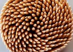 Bamboo toothpicks in a container