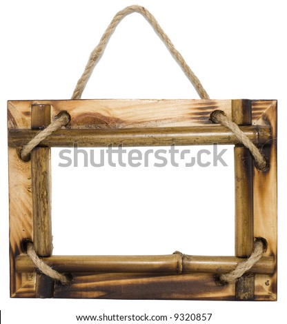 Bamboo tropical picture frame with rope, isolated