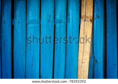 Bamboo wall painted blue