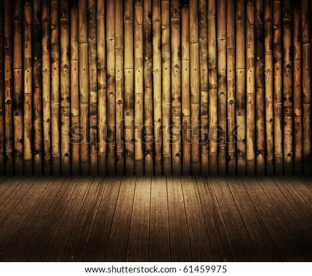 bamboo wall with wooden floor in dark room style