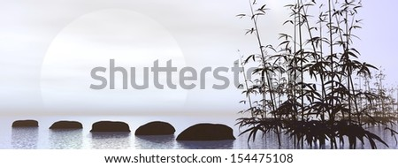 Stock Photo Bamboos next to stones leading towards the sun in black and white background
