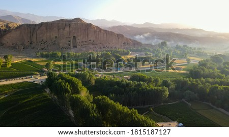 Bamyan (Bamiyan) in Central Afghanistan. This is a view over the Bamyan (Bamiyan) Valley showing both Buddha niches in the cliff. The Buddhas were destroyed by the Taliban. UNESCO site Afghanistan